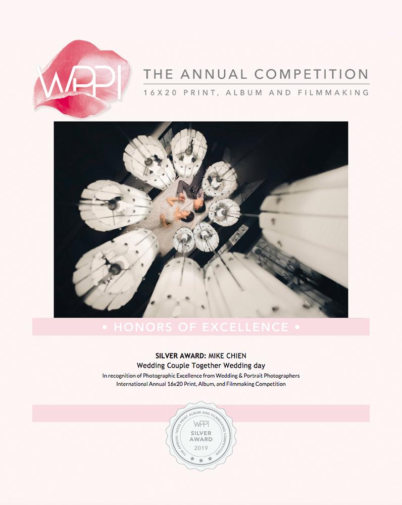 我們的照片獲獎在世界上最難的打印攝影比賽-美國WPPI Annual,很高興獲得 1 silver distinction award and 3 silver awards. 感謝所有支持我們的客戶,我們會繼續拍出更棒的婚禮影像!