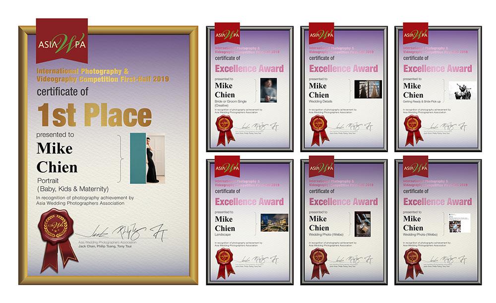 AsiaWPA 國際攝影大賽 2019上半年成績公佈: 特別感謝AsiaWPA多位國際評審給予這個肯定, 2019上半年度比賽獲獎 7張作品, 很開心拿了一張孕婦人像 第1名! 在這忙碌工作中帶來一點驚喜,同時恭喜每位得獎者! 如果喜歡我們的風格,記得關注、按喜歡,設定搶先看就可以看到最新的照片!你最棒! 記得追蹤我們的IG:https://www.instagram.com/mike.c_wedding/