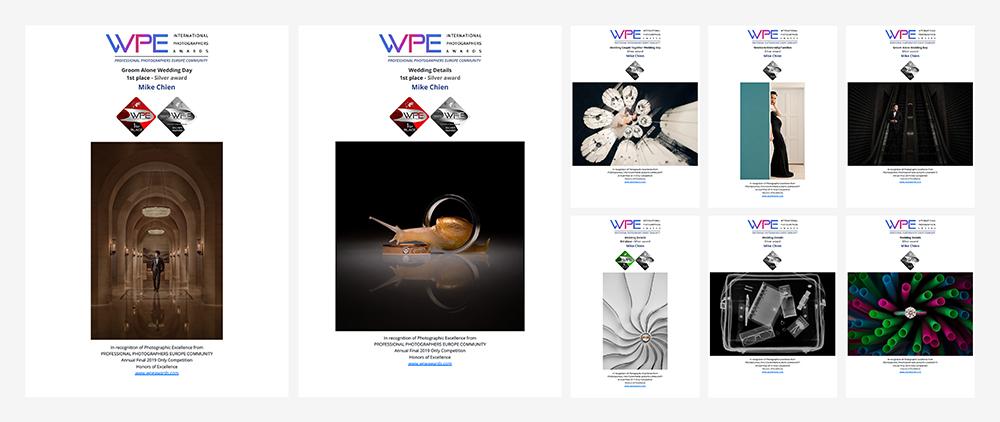 2019 WPE Awards 歐洲年度攝影決賽獲得佳績! 今天,WPE宣佈了2019年年度決賽的結果: 很幸運,獲得二個第1名、一個第3名、8枚銀獎! 新的一年好的開始 Continue to create !! 第一次參加 WPE Awards Europe 歐洲年度國際攝影大賽,多多指教。 非常感謝WPE評委的肯定!恭喜所有獲勝者!Happy New Year! 如果喜歡我們的風格,記得關注、按喜歡,設定搶先看就可以看到最新的照片!你最棒! 記得追蹤我們的IG:https://www.instagram.com/mike.c_wedding/